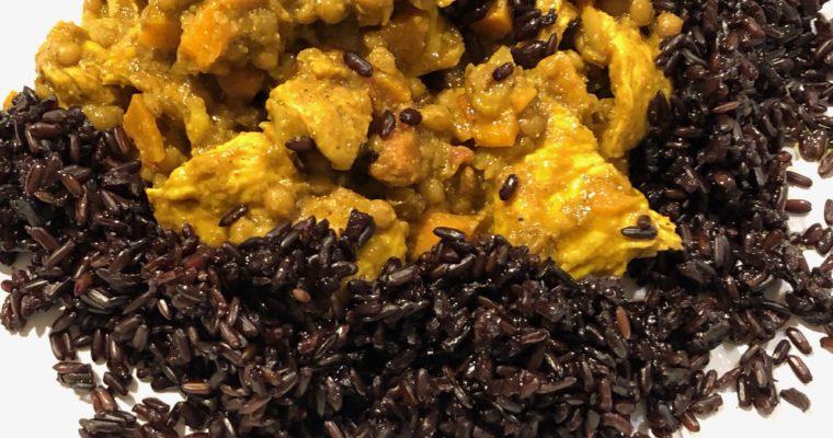 Pollo, lenticchie, riso Venere e … tantissimo curry